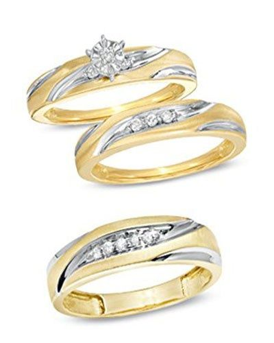 Trio Wedding Ring Sets Jared Wedding Ring Trio Sets Wedding Ring Bands Engagement Ring Matching Wedding Band