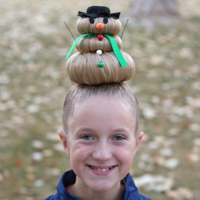 Snowman Hairstyle for Crazy Hair Day (or Christmas)   Pinterest ...
