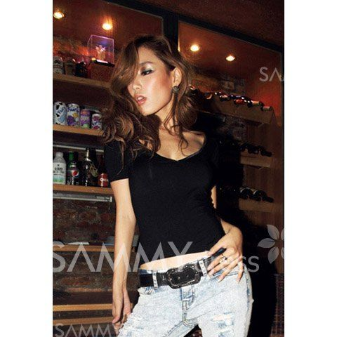$5.50 Sexy Style V-Neck Backless Low-Cut and Bandage Back Design Slimming Short Sleeves Cotton T-Shirt For Women