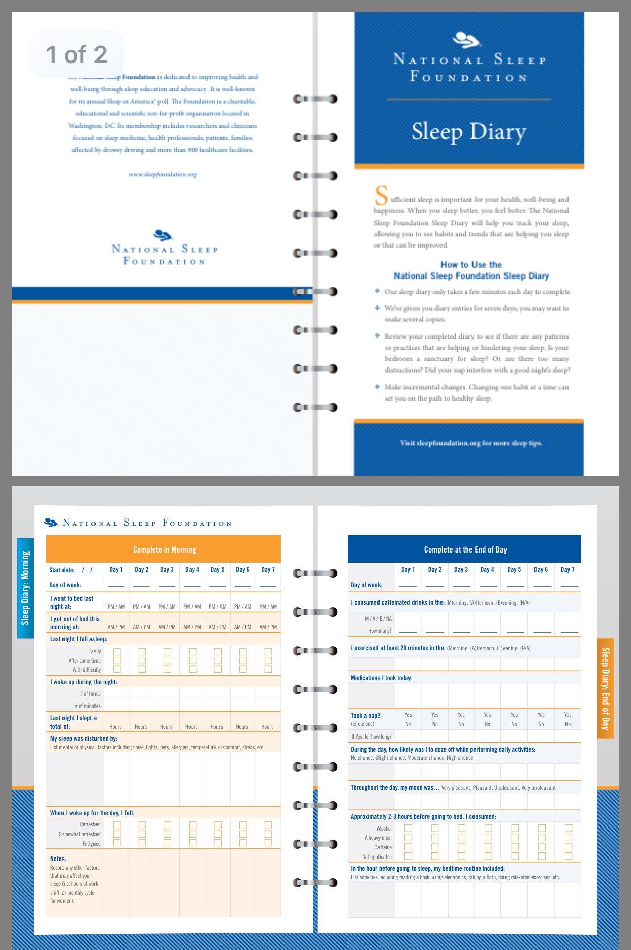 The National Sleep Foundation Sleep Diary Free Printable