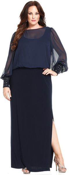 78951610d8ad5 Xscape Plus Size Dress Longsleeve Blouson Gown -
