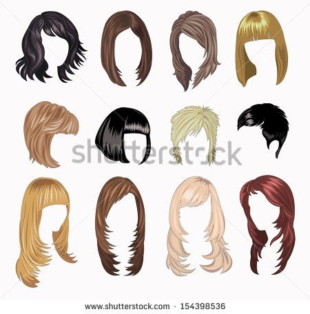 Full Set Of Woman Hair Styling Fashion Illustration Hair How To Draw Hair Hair Sketch