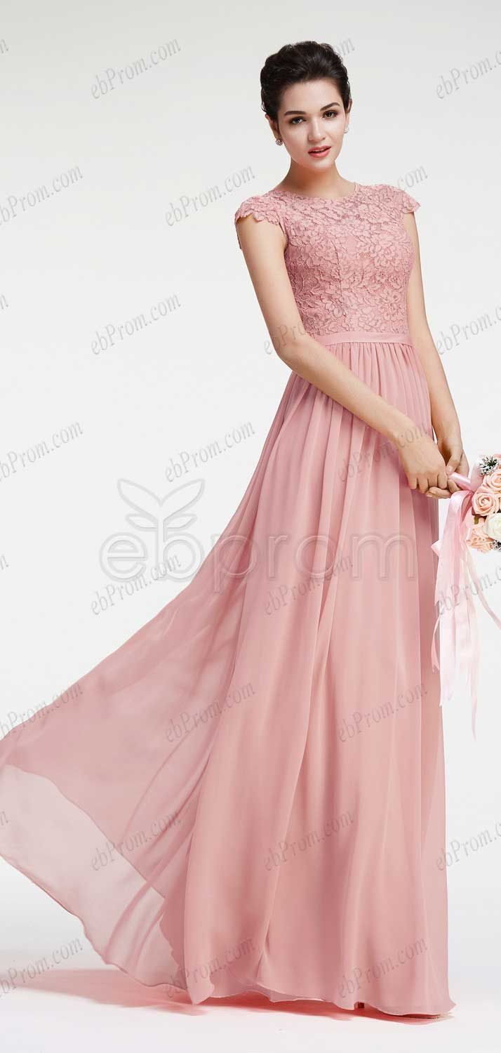 Dusty pink bridesmaid dresses with cap sleeves dress classy