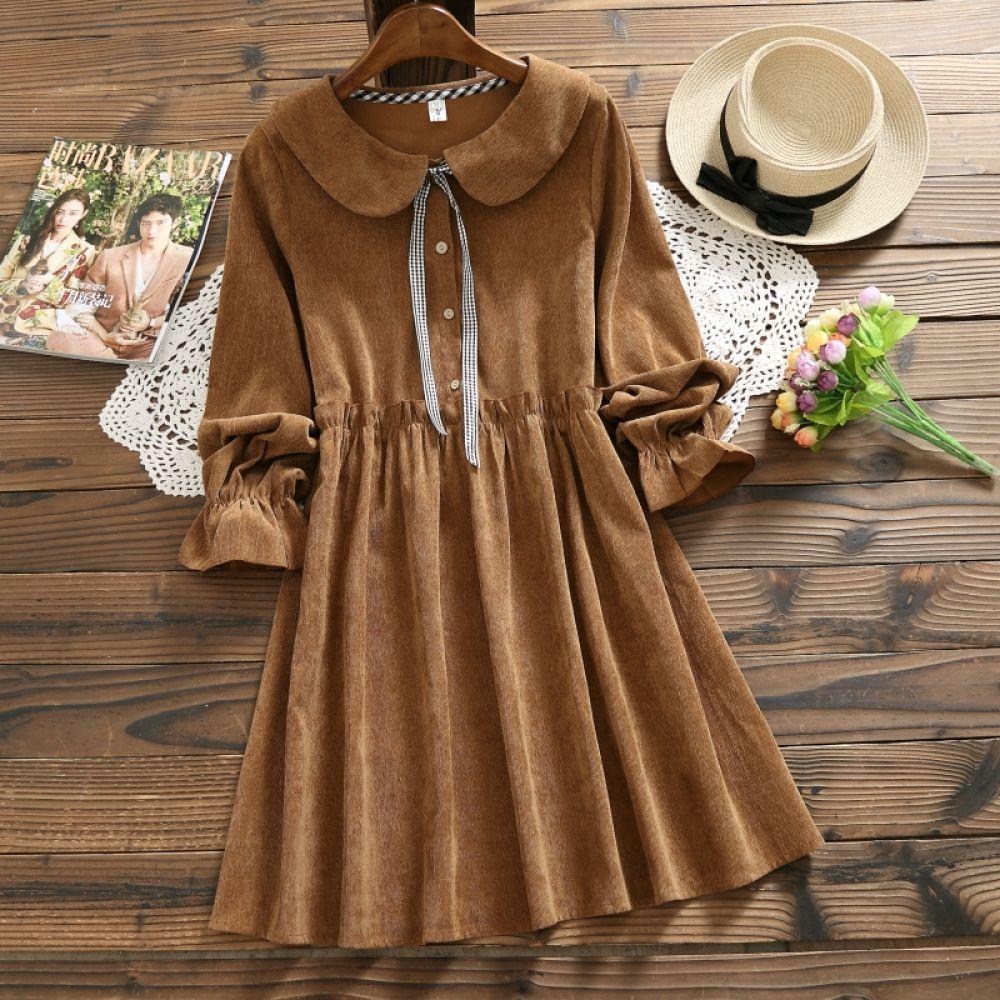 Women S Kawaii Draped Dress Theabsolute Store Corduroy Dress Women Clothes For Women Fashion [ 1000 x 1000 Pixel ]