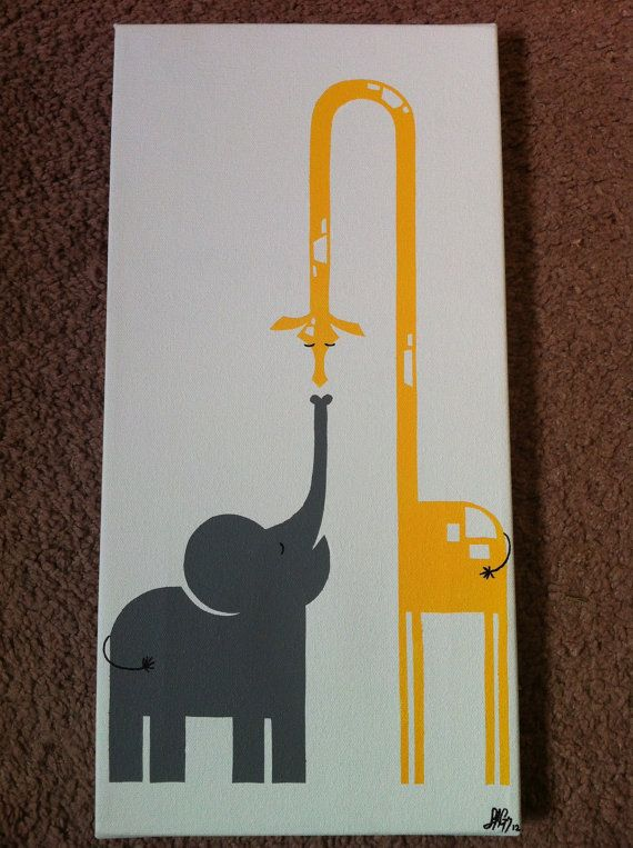 New Friends Elephant and Giraffe ~ GrayGallery on Etsy  I purchased this for my Grandson's nursery...So cute!