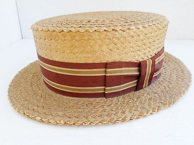 2fcc1b84cb9 BROOKS BROTHERS antique vintage natural straw maroon ribbon boater hat 7 1 4