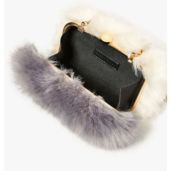 FAUX FUR MINAUDIERE - View all-BAGS-WOMAN | ZARA United States ($50) ❤ liked on Polyvore featuring bags, handbags, clutches, white handbags, white clutches, faux fur purse, faux fur handbags and white purse