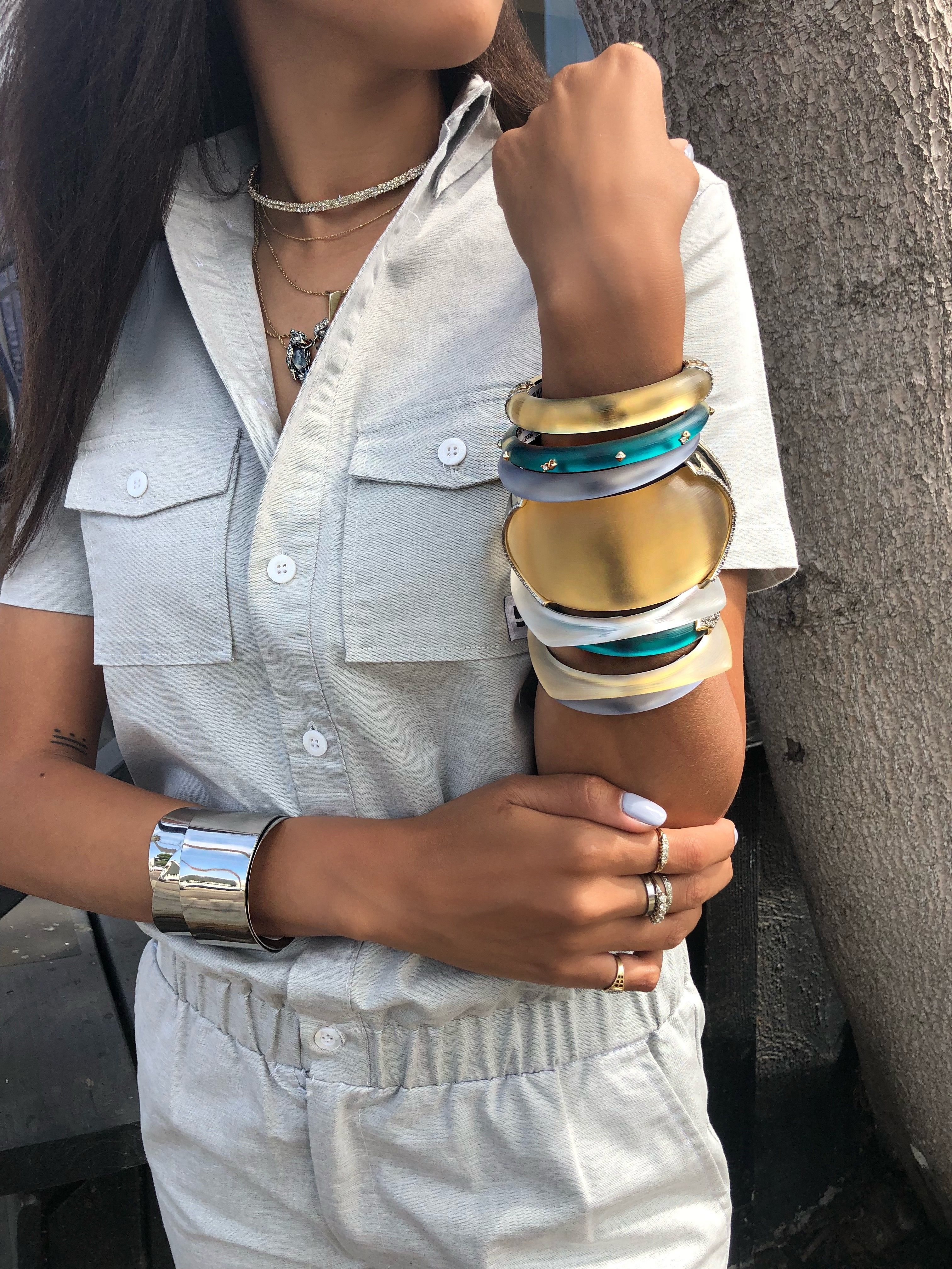 61a7f3c760e8 Metal and Lucite Essentials Bracelet Stack Alexis Bittar