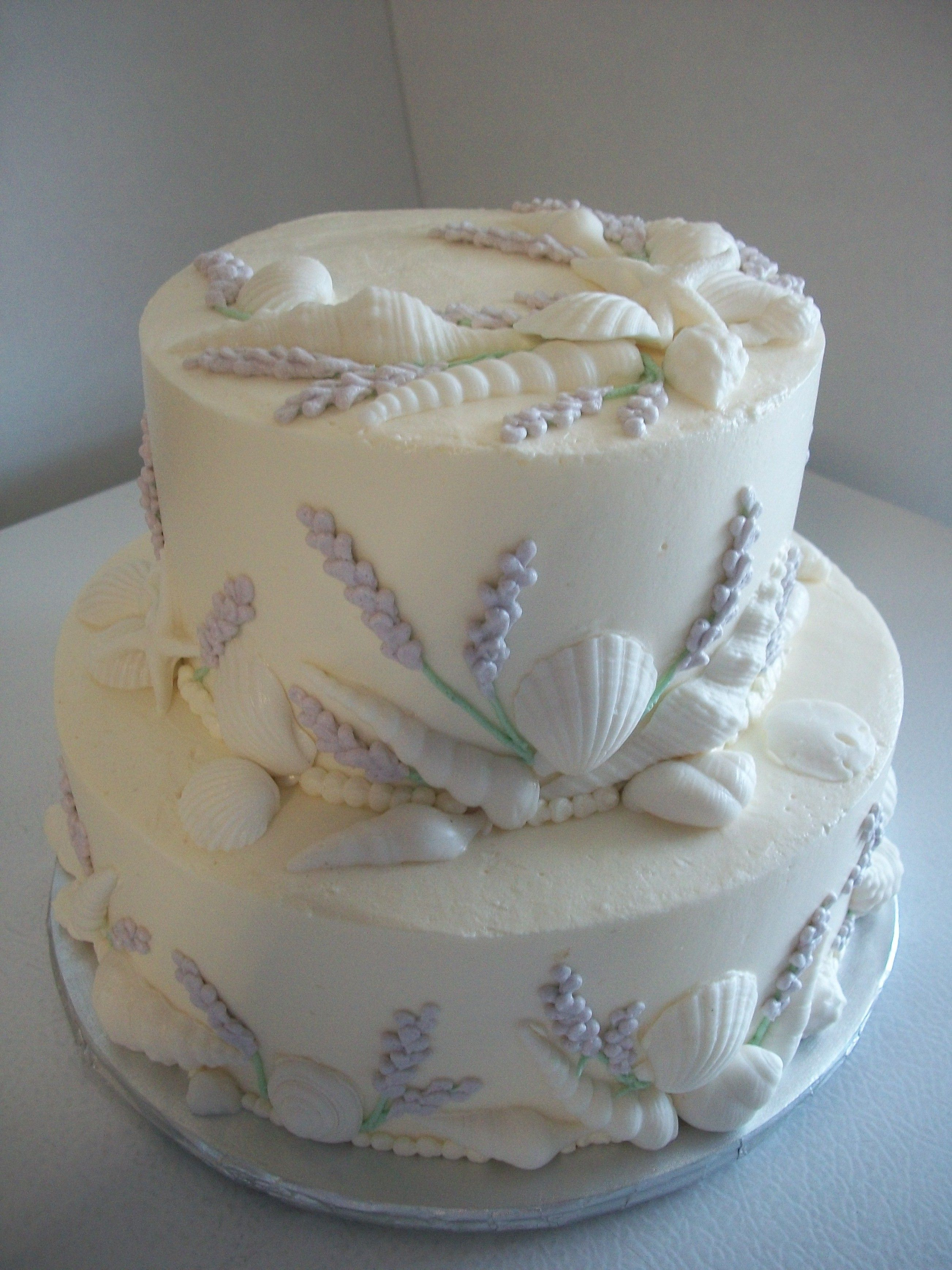 Seashells And Lavender Flower Smith Island Wedding Cake