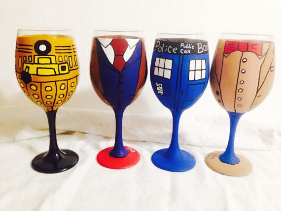 Doctor Who Set Inspired Hand Painted Wine Glass. by AWhimsicalHoot