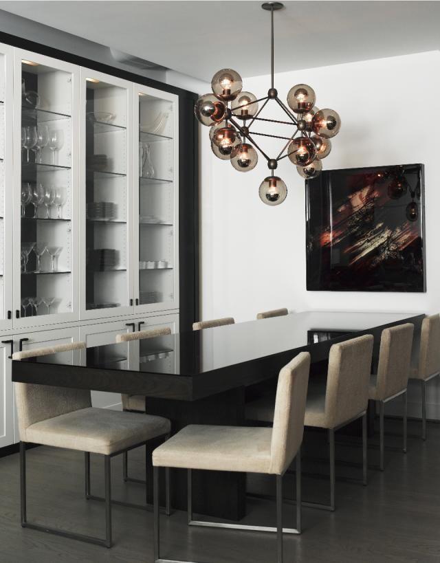 Tribeca Loft By SchappacherWhite MODO Chandelier Diamond Dining Room