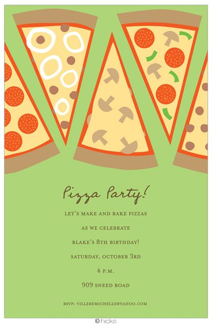 Modern Pizza Party Birthday Party Invitations Http Www