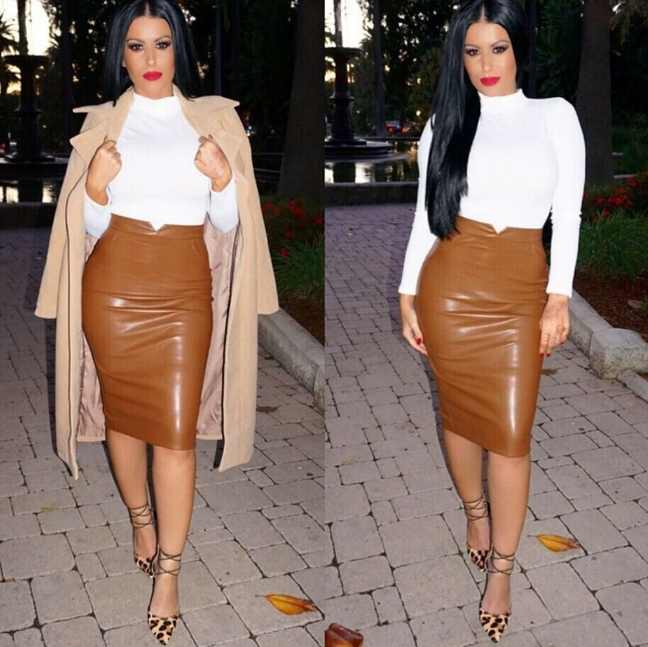 Mocha Brown Fierce Faux Leather Pencil Skirt | Mocha, Leather ...