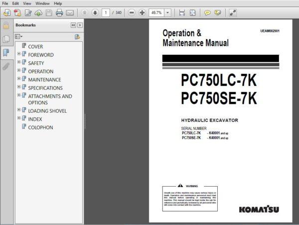 Komatsu Pc750lc 7k Pc750se 7k Hydraulic Excavator Operation Maintenance Manual Sn K40001 And Up Hydraulic Excavator Operation And Maintenance Excavator