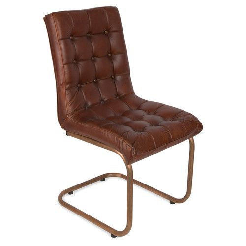 Leather High Back Chair With Buttons And Copper Legs 329
