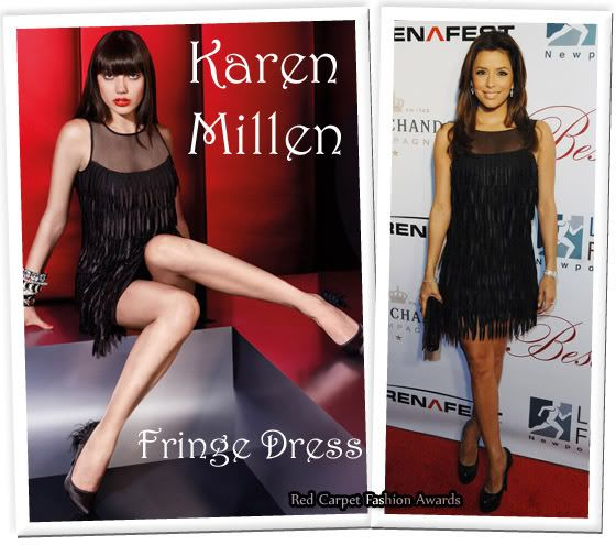 Black fringe dress in a celebritites