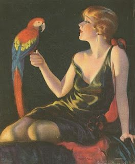 Pin up girl with parrot