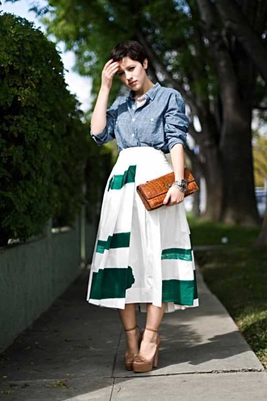 Easy Marni DIY courtesy of Karla's closet: white skirt, green paint and some time...and VOILA! Marni-nificent!