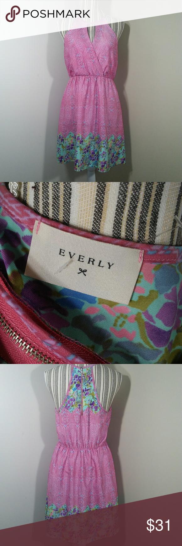 Everly dress pink keyhole neck exposed zipper sz m my posh picks