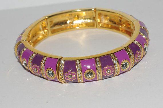 Signed Purple Stretch Bracelet by Joan Rivers  by MardiGrasShoppe