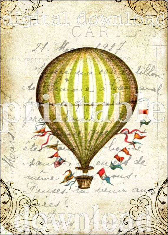 Whimsical Striped Hot Air Balloon Vintage Design Digital Collage Sheet Download Scrapbooking Wall Home Decor Supplies