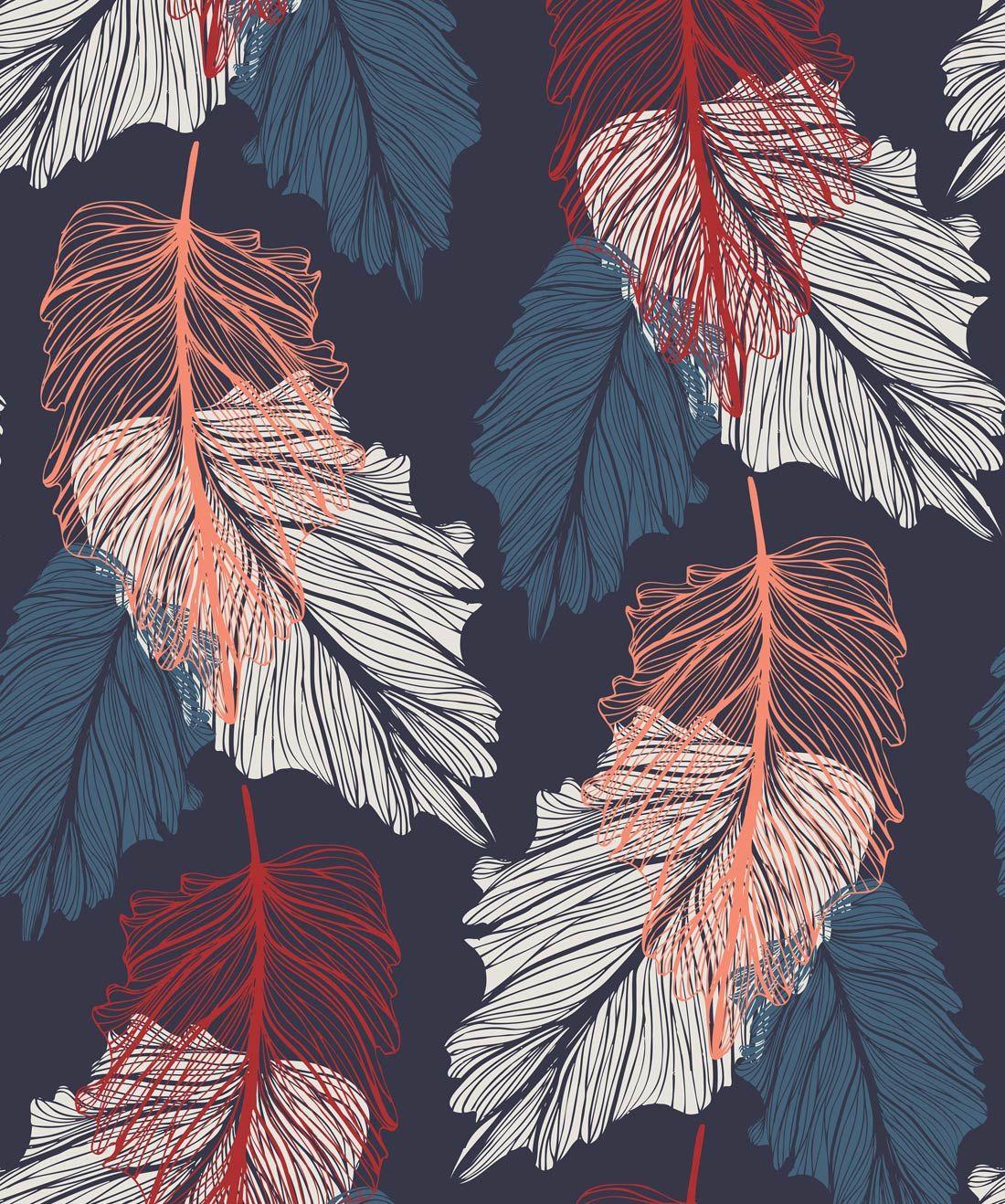 Shedding • A Contemporary Falling Leaf Wallpaper Leaf