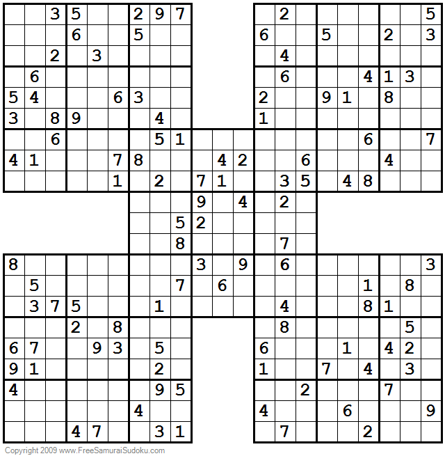 photo regarding Printable Sudoku Samurai named 1001 Challenging Samurai Sudoku Puzzles SUDKUO PUZZLES Sudoku