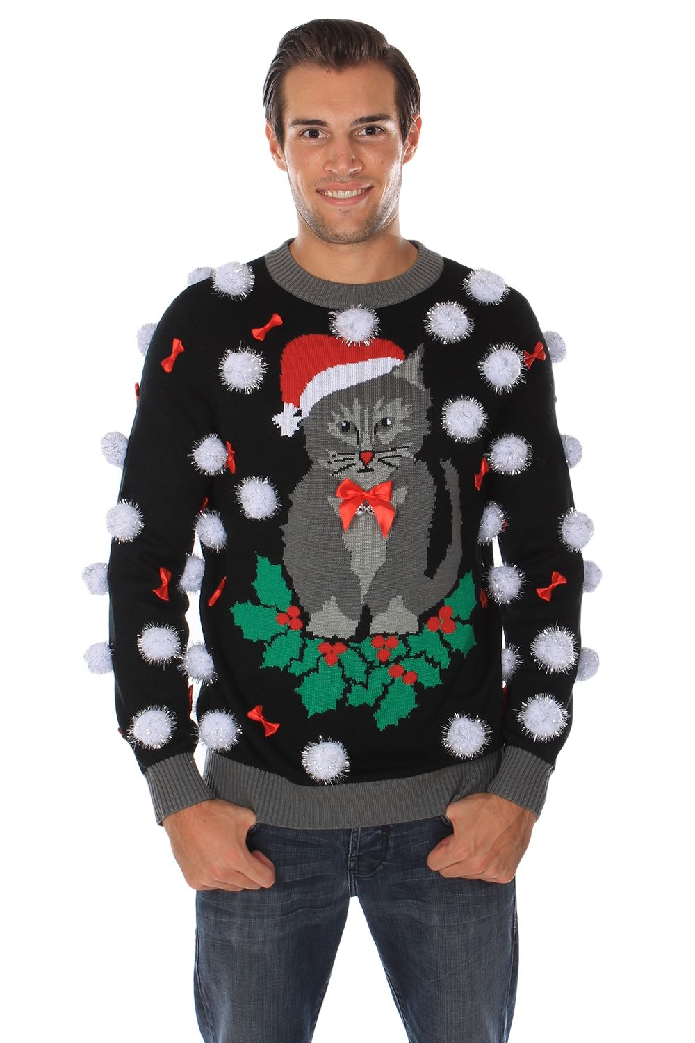 Men's Ugly Cat Sweater with Bells | Ugly cat christmas sweater ...