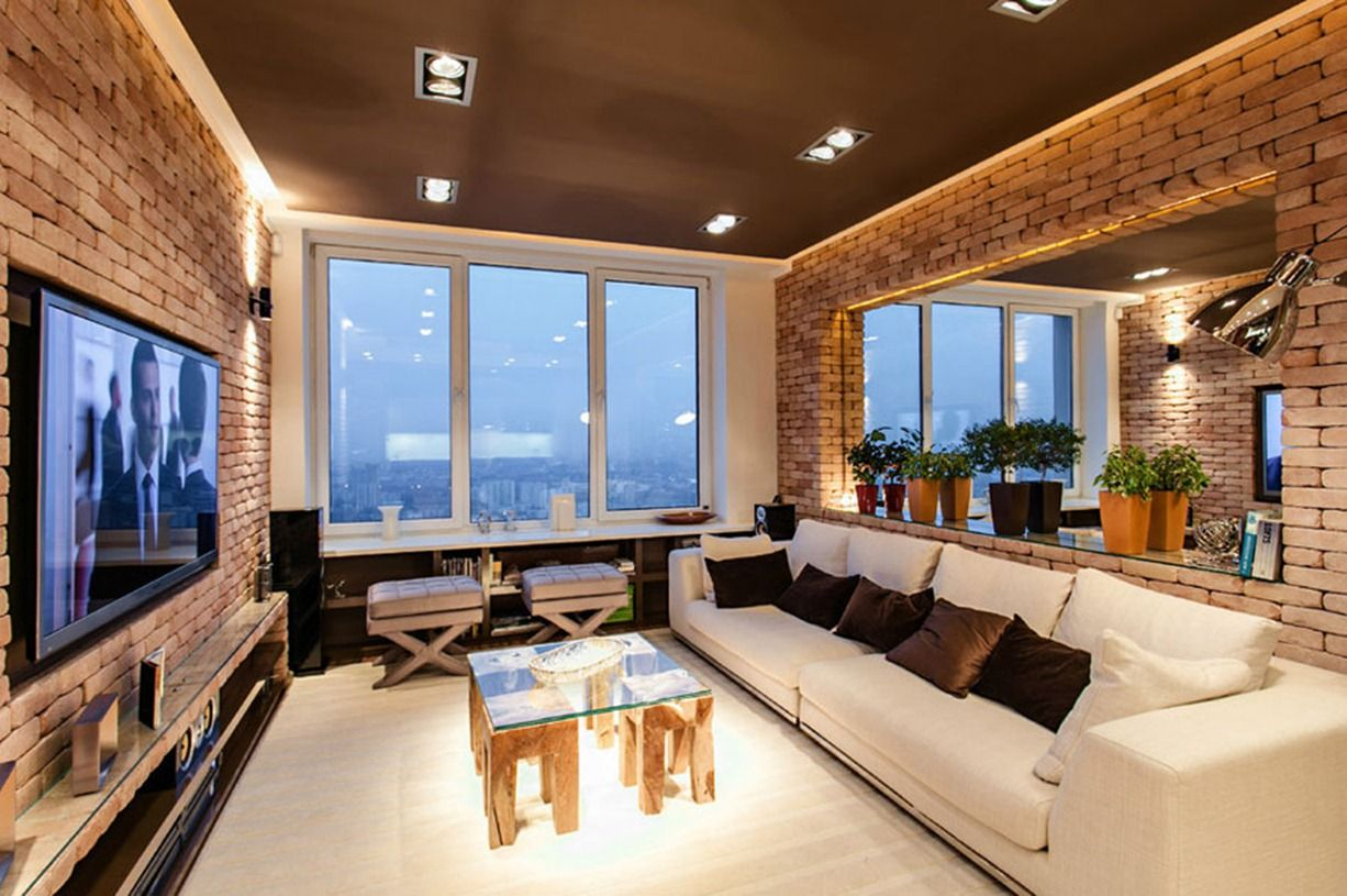 New York Loft Style Living Room Interior Design Ideas Blue And Brown Stylish Laconic Functional Very Cozy Where All The Walls Of Has Brick Finish
