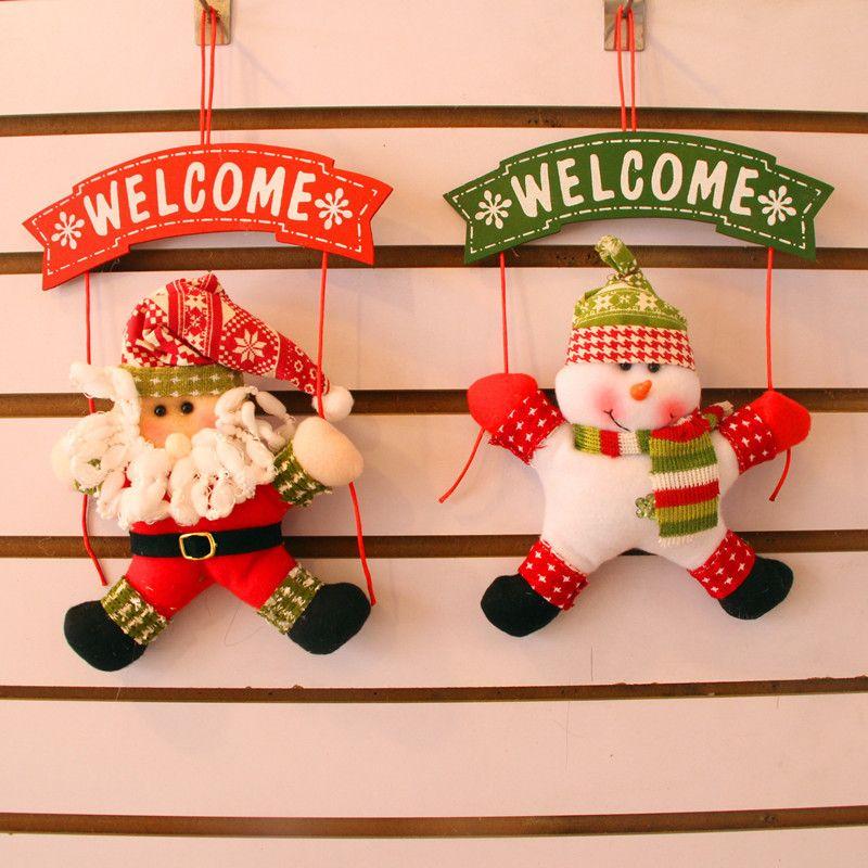 Christmas ornaments cute welcome santa snowman xmas door hanging decoration