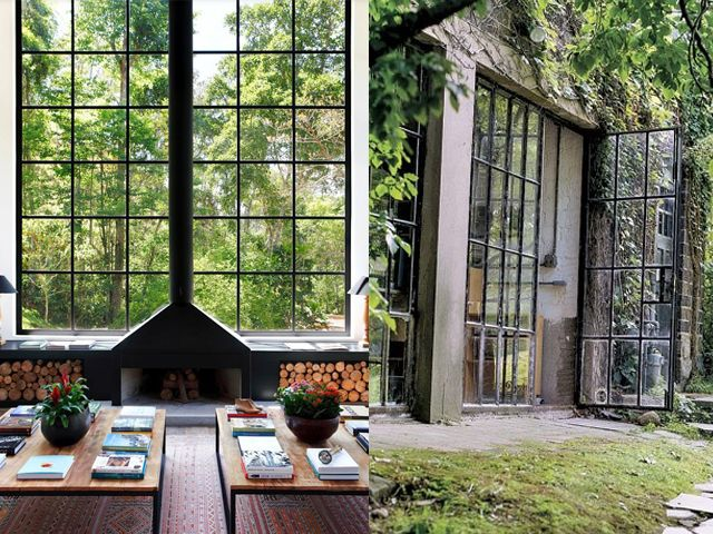 This fireplace. Steel window frames!   Architectural Ideas ...