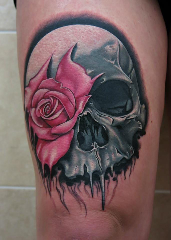 shoulder skull rose tattoo - 522×746