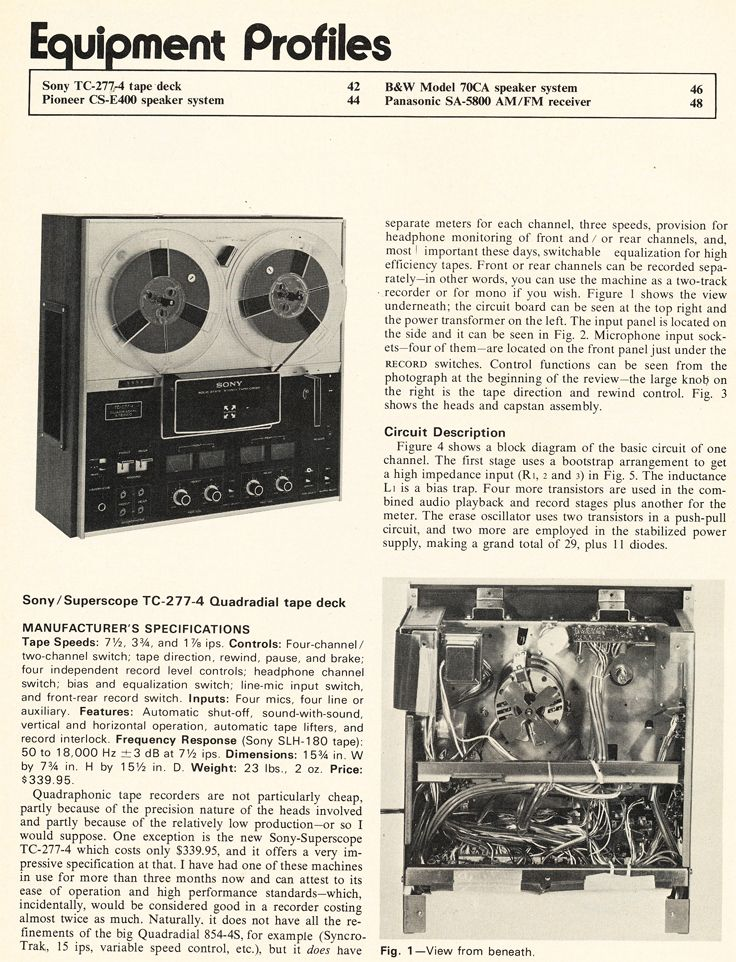 1972 Review Of The Sony Tc 277 Reel To Reel Tape Recorder In