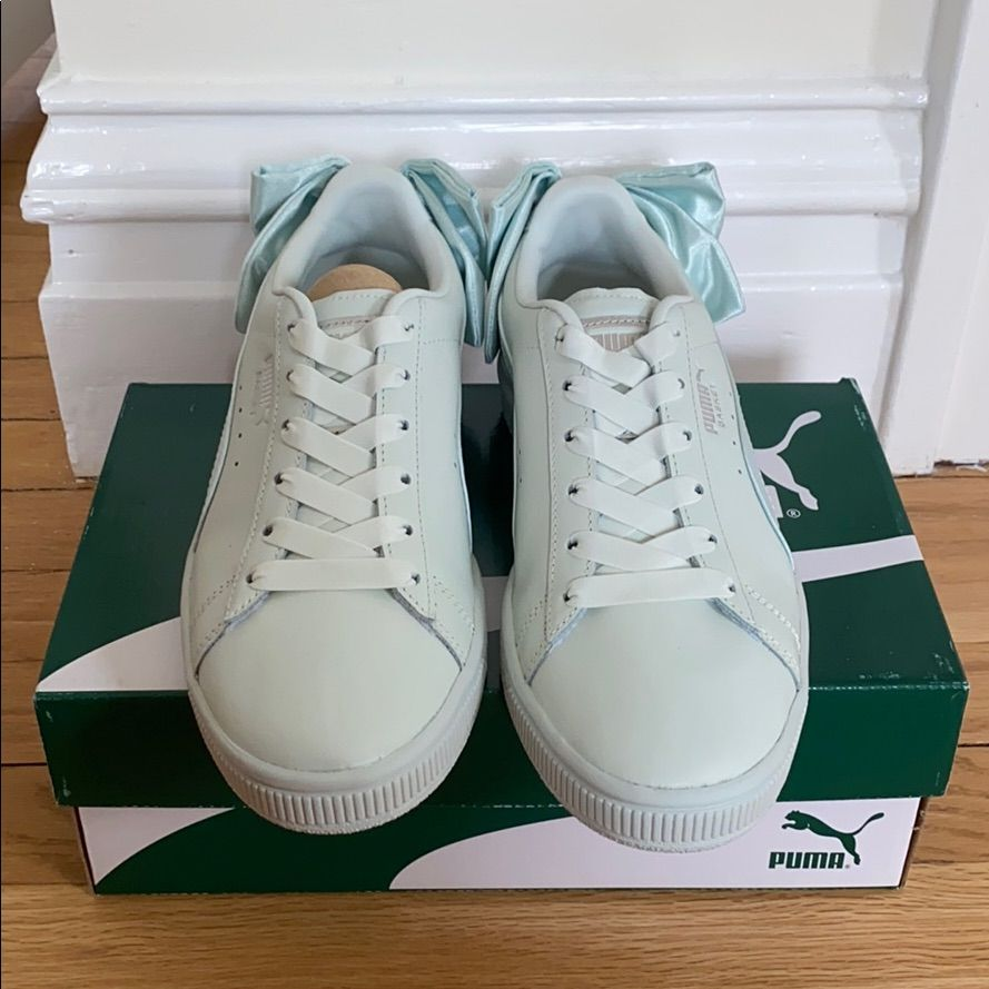 Puma Shoes | Puma Basket Bow Sneakers | Color: Blue/Green | Size: 8