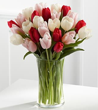 Pink White And Red Tulips Tulips Arrangement Tulips Flowers Tulip Bouquet