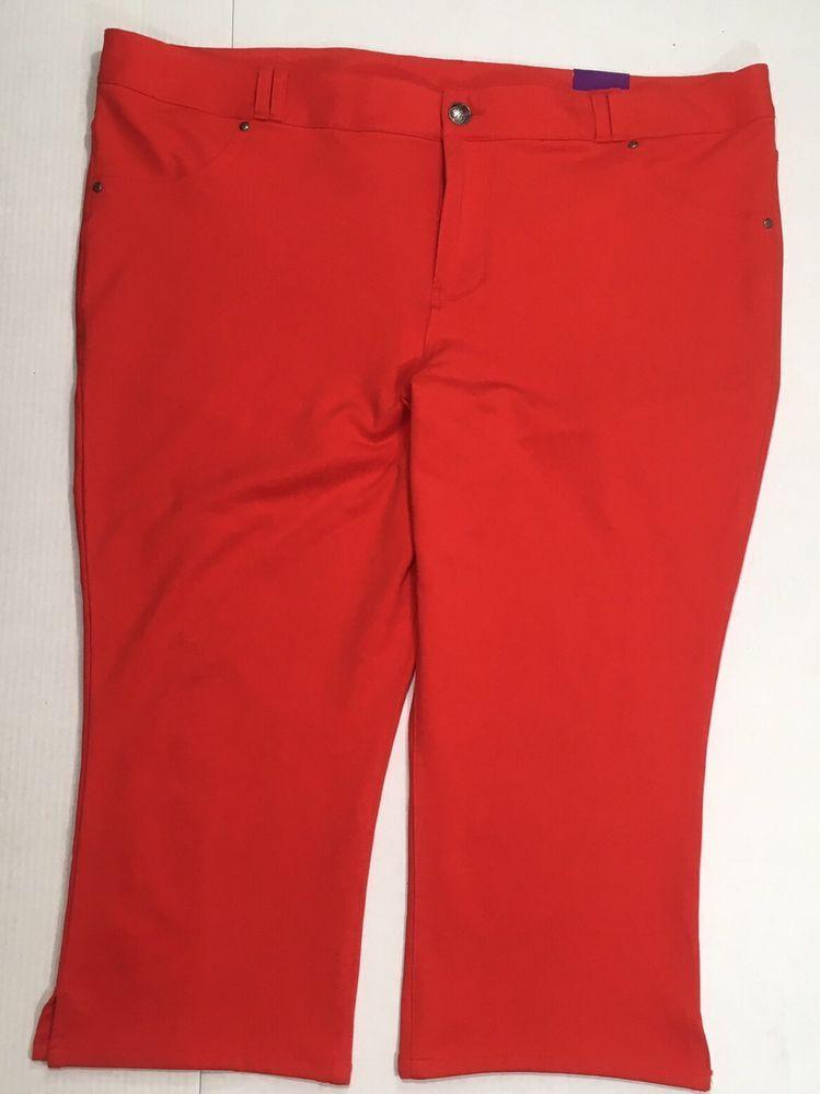 486b6109d9f Lane Bryant Capri Pants Plus SZ 26 Orange Red Stretch Cropped Knit Legging   LaneBryant  leggingCapris  orangepants