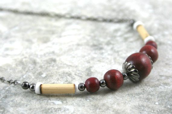 Dark red wood, bamboo, and shell necklace with gunmetal black accents and chain by Earthwear Collection