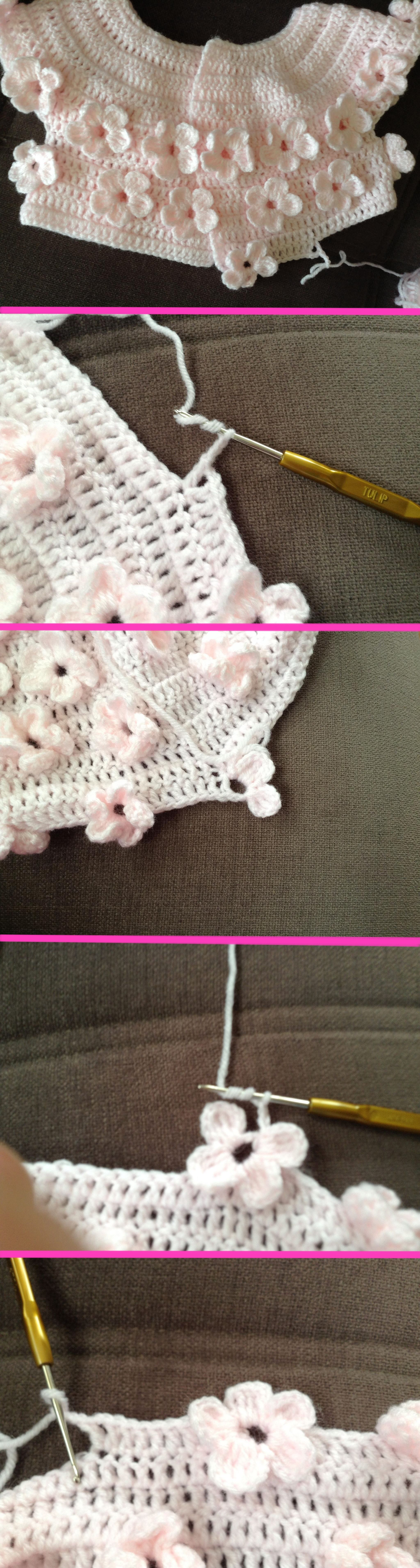 crochet pattern cardigan floral for baby | casacos croche ...