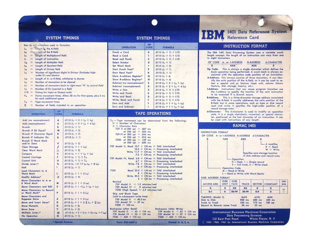 "Paul Rand (attributed) reference card design, 1959-61. ""IBM 1401 Data Reference System"" by NewDocuments on Etsy"