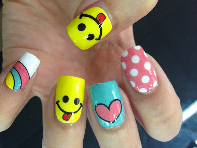 Emoji Nail Art Nail Wrap MDS1005   NAILS   Pinterest   Arte uñas ...