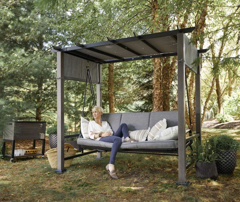 Broyhill Patio Pergola Cushioned Daybed 3 Person Swing Big Lots In 2020 Outdoor Patio Swing Backyard Seating Backyard Seating Area