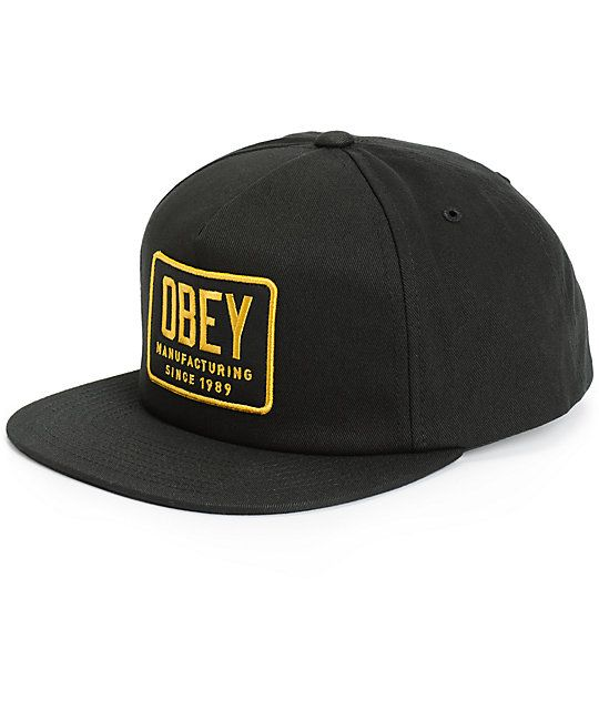 Obey Industrial Snapback Hat Zumiez Black Snapback Hats Snapback Hats Black Snapback