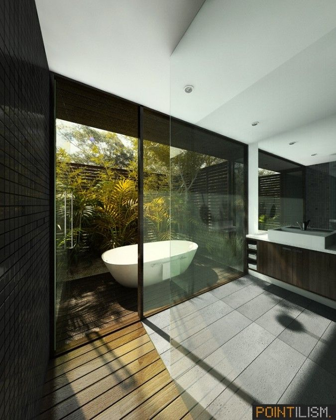 White Outdoor Bathtub Design Above Wood Deck Area