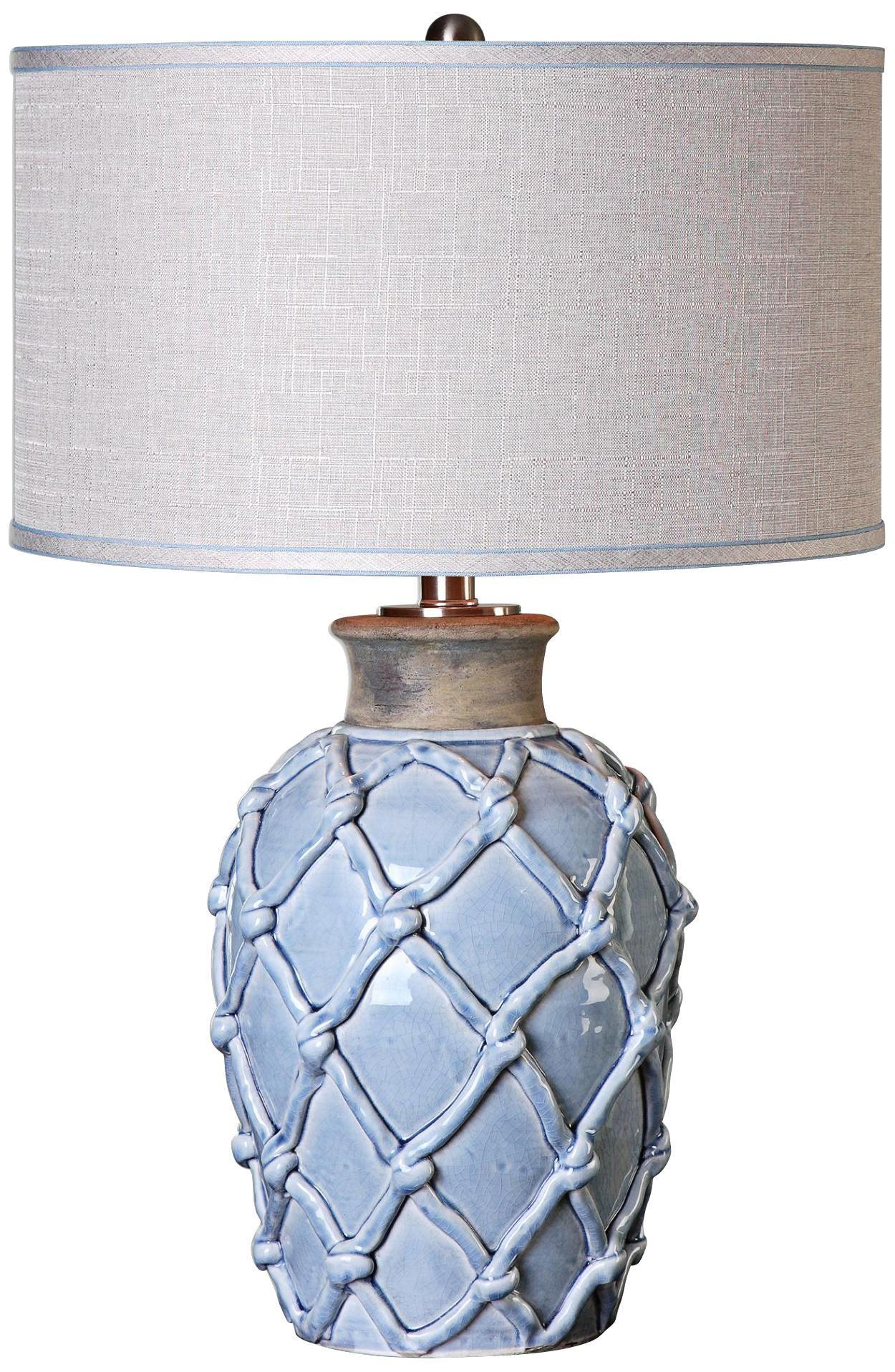 Blue ceramic table lamps - Uttermost Parterre Hammock Pale Blue Ceramic Table Lamp
