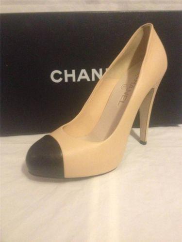 609ae0387b72 Chanel 12P Classic Beige Leather Black Cap Toe Platform Pump Heels Shoes   895