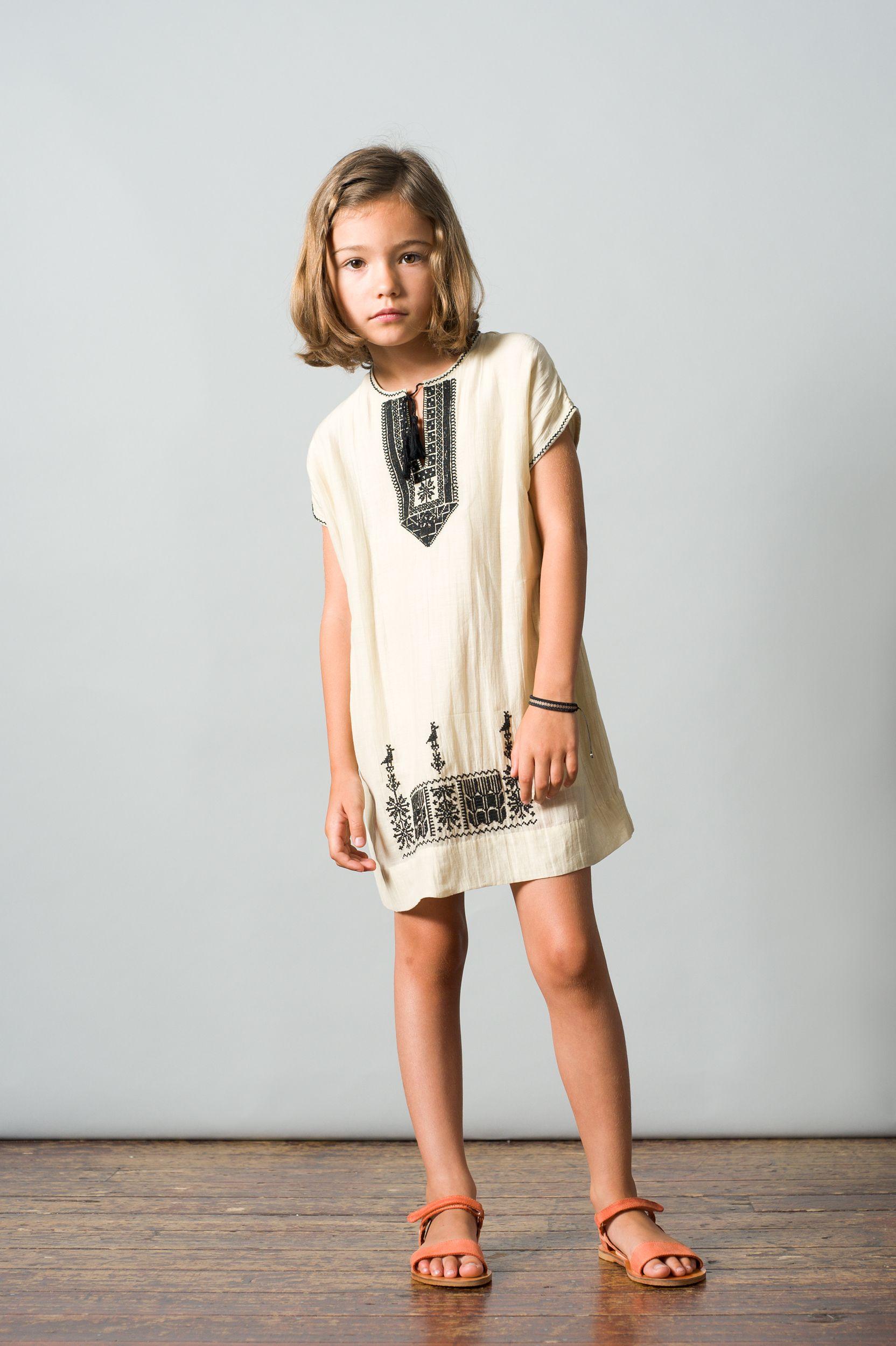 Niue Dress, Ecru Black Embroidery. Caramel Baby & Child. www.caramel-shop.co.uk.