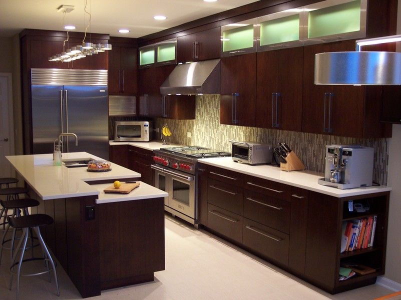 Veneer Kitchen Cabinets with dark brown paint colors and light ...