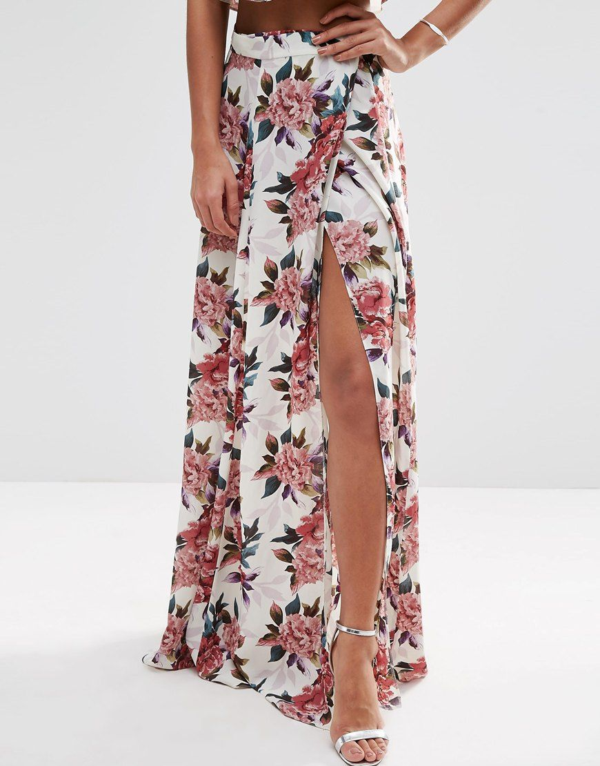 Image 3 ofASOS Wrap Maxi Skirt in Floral Print Co-ord