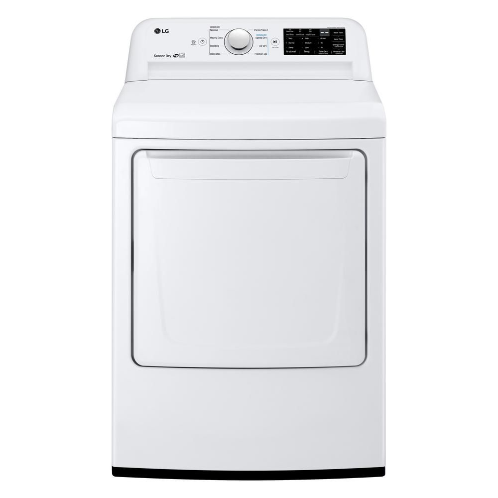 7 3 Cu Ft Ultra Large High Efficiency Electric Dryer In White Electric Dryers Lg Dryer Lg Electronics