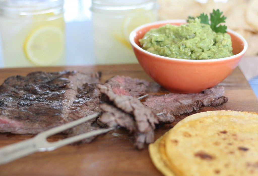 Grilled Skirt Steak Tacos with Spicy Red Onion Guacamole